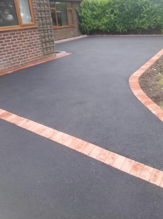 tarmac with block paving borders